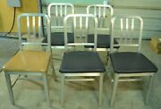 Lot Of 5 Remington Rand Aluminum Semi-upholstered Chair Antique 1950's