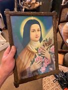 Vintage Chalkware Picture Religious Saint Theresa Print Made Into A Chalk Frame