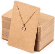 150 Pcs Blank Jewelry Display Cards Kraft Paper Necklace Earring Holder For 3.5