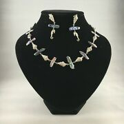 Wow And039one Of A Kindand039 Seashell And Stick Pearl Silver Necklace And Drop Earrings