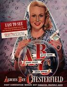 1947 Chesterfield Cigarette Print Ad Virginia Mays Crystal Ball