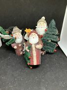 Lot 3 Department 56 Once Upon A Starry Night Santa Christmas Ornaments- New