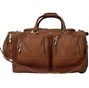 Piel Leather Grain Cowhide Duffel With Pockets And Wheels, 20 X 11 X 11 Inches