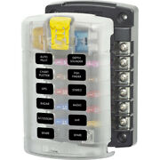 5029 Blue Sea 5029 St Blade Fuse Block With Cover 12 Circuit Without Negative...