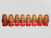Vintage Ussr Toy Nice Red Nesting Dolls 8 Pcs Made Of Wood Russian Matryoshka