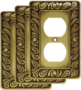 Antique Look Brass Duplex Outlet Wall Plate Switch Cover 3 Home Improvement
