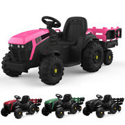 Electric 12v Kids Ride On Tractor Car Truck Toys Mp3 2 Speeds With Large Trailer