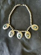 Vintage Sterling Silver Navajo Shadow Box Squash Turquoise Necklace.