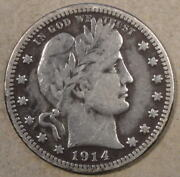 1914-s Barber Quarter 25c Vf As Pictured