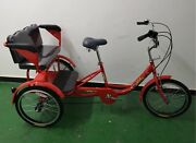 One Week Sale Red Trekidoo-adult Tricycle With Child Seat And Safety Harnes