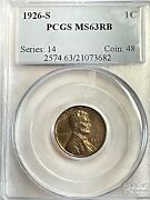 1926-s Lincoln Cent Ms63rb Pcgs From Old Time Collection