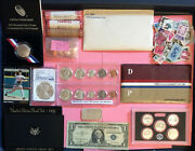 Silver Coins Bu, Mixed Coins And Stamps,baseball Cards.usa Note
