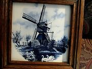Framed Wall Hanging Dutch Windmill Scene Tile Hand Painted Made In Holland