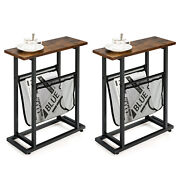 Costway 2pcs Industrial End Side Table Nightstand With Mesh Holder Rustic Brown