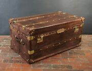 Antique Inspired Leather And Brass Coffee Table Trunk Chest
