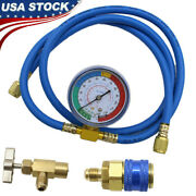 R134a Recharge Measuring Hose Gauge Adapter A/c Refrigerant Charging Pipe Us