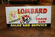 Lombard Chainsaw Sales Dealer Embossed Metal Sign Gas Oil Farm Rooster Tree Sun