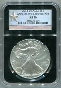 Ngc-ms70 2013-w Burnished Planchet Silver Eagle - From Annual Dollar Coin Set