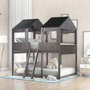 Full Over Full Wood Bunk Bed With Roof Window Guardrail Ladder Kids Antique Gray
