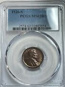 1926-s Lincoln Cent Ms62rb Pcgs From Old Time Collection