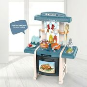 Toddler Playhouse Kitchen Playset Dinner Table With Full Cookware Foods Sets Usa