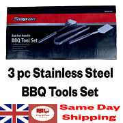 Snap On Bbq Ratchet Handle Cooking Tools 3pc Set Stainless Steel Ssx20p109