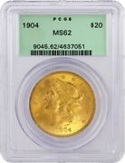 1904 20 Liberty Head Double Eagle Gold Pcgs Ms62 Gen 3.1 Old Green Holder Ogh