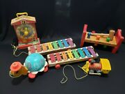 6 Vintage Fisher Price Toot-toot Train Tip Toe Turtle Pounding Bench Pull-a-tune