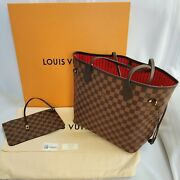 Rare Louis Vuitton Neverfull Mm, Damier W/ Cherry Red Lining And Pouch, Sold Out