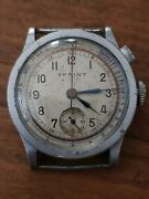 Rare 1940s Breitling Sprint Monopusher Chronograph W/ Pulsometer Pulsations Dial
