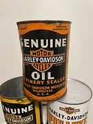 Harley Davidson Motorcycle Vintage 1930-40andrsquos Motor Oil Full Qt Can Container