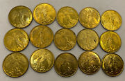 Huge Lot 15 Gold Tone Guardian Angel W/ Halo Double Sided Token Good Luck Coin