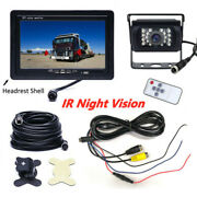 7 Wired Backup Rear View Camera System Monitor Night Vision For Rv Truck Bus Us