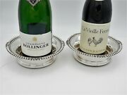 Superb Pair Of Silver Georgian Style Wine Coasters London 1913 Bottle Stands