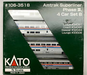 N Scale Kato Amtrak Superliner Phase 3 Passenger Car Lot With Knuckle Couplers.