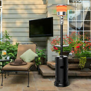 Outdoor Patio Heater Propane Standing Lp Gas Steel W/table And Wheels Black