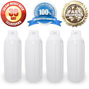 4 New Ribbed Boat Fenders 4.5 X 13 White Single Eye Bumpers Mooring Protection