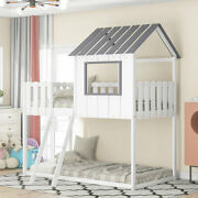 Twin Over Twin Wood Bunk Bed House Bed With Rustic Fence-shaped Guardrail White