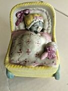 Vintage Kitty Cucumber Yellow Buggy Rotating Schmid Music Box Brahms Lullaby