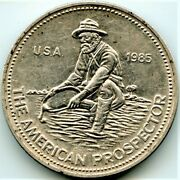 1985 The American Prospector Round Collectable 1 Troy Ounce .999 Fine Silver