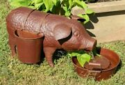 Farmhouse Water Fountain Pig And Planter Outdoor