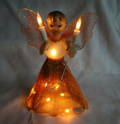 Retro Vintage 50and039s Timco Lighted Angel Christmas Tree Topper Light 6 Orig Box