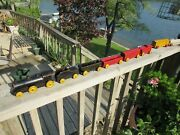 Vintage Complete 1930and039s Strombecker Toy Wood And039national Fast Freightand039 Train Set