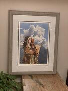 1984 Wooden Frame Glass Matted Signed In Pencil Paul Calle /950 Print Native