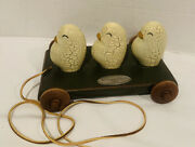 Gerald E. Henn 1996 Wood Pull Toy Three Little Chick Henns Great Condition