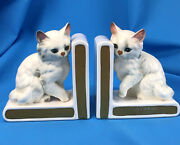 Vintage Cat Bookends White Persian Fluffy Kitty Lefton Japan Ceramic Book Ends