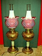 Antique Brass Onyx Lamp W/fenton Swirl Opalescent Cranberry Shade Oil Style