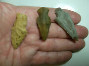 904 Lot Of 3 Artifacts Only,3 Arrowheads,texas, Found By West Family