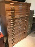 4 Stack Flat File Drawers Solid Oak Each W/5 Drawers Art Artist's Architectural