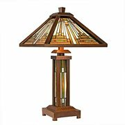 """Table Lamps, 3-light 25.6"""" Stained Glass Beside Lamp With Night Light"""